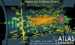 鉛原子核同士の衝突のイベントディスプレイ